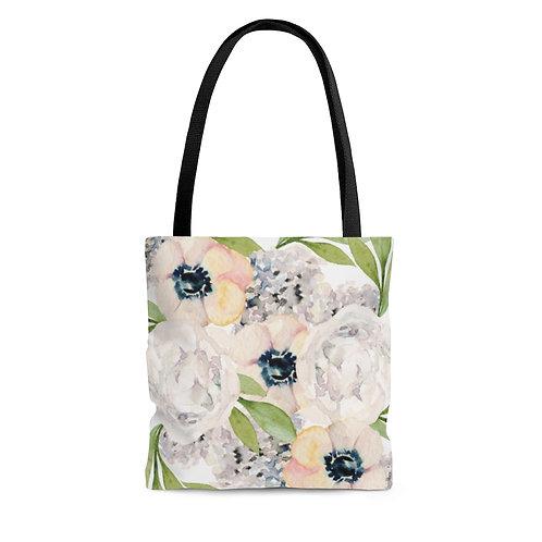 Garden Watercolor Floral Tote Bag