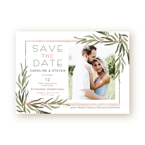 Modern Deco Greenery Save the Date Card with Photo