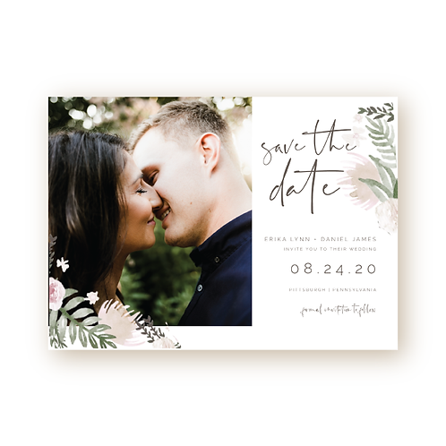 Muted Watercolor Florals Save the Date Card with Photo
