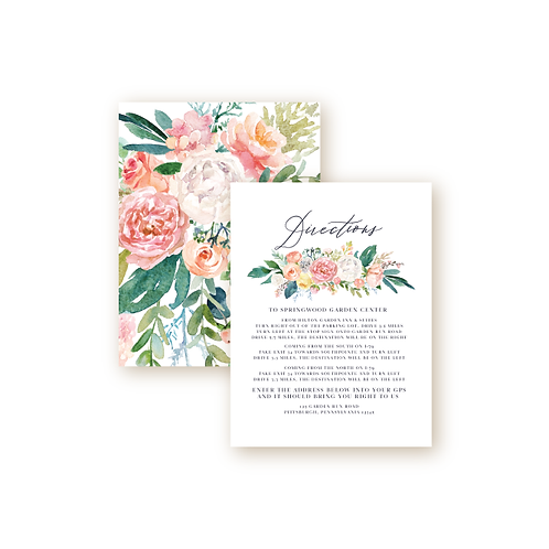 Romantic Spring Garden Directions Insert Card