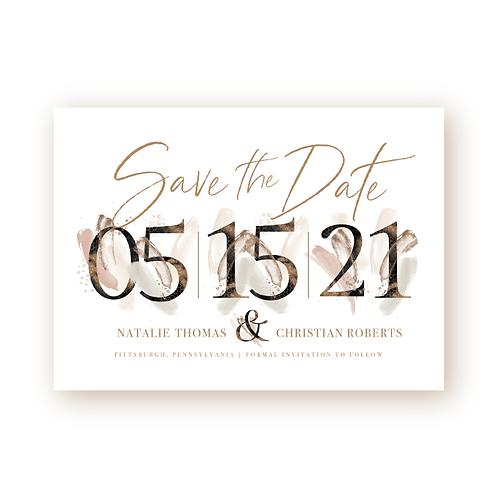 Elegant Glitter Save the Date Non-photo Flat Card