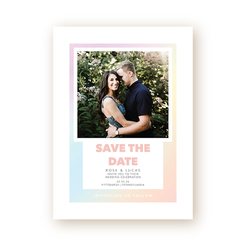 Colorful Minimalist Save the Date Card with Photo