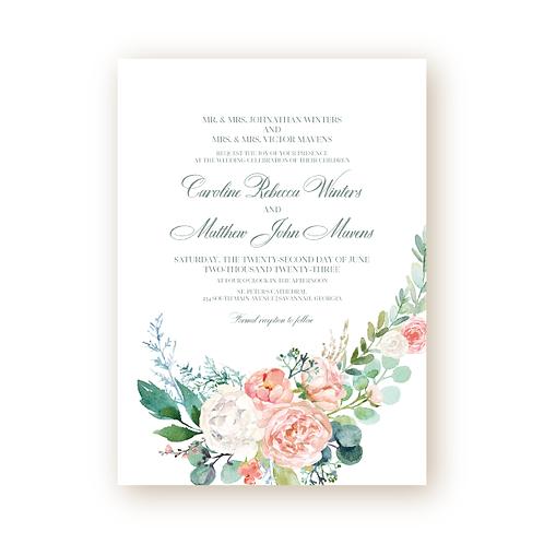 Elegant Spring Florals Wedding Invitation