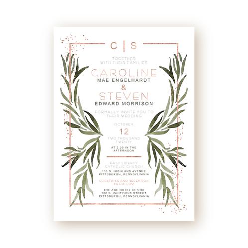 Modern Deco Greenery Wedding Invitation