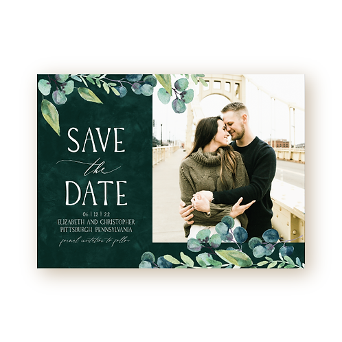 Modern Greenery Save the Date Card with Photo