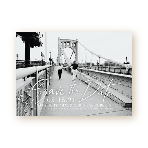 Elegant Glitter Save the Date Flat Card with Full-bleed Photo
