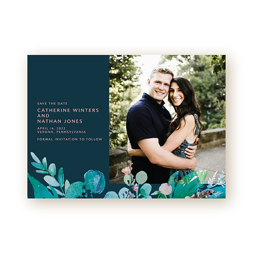 Spring Foliage Save the Date Card with Photo
