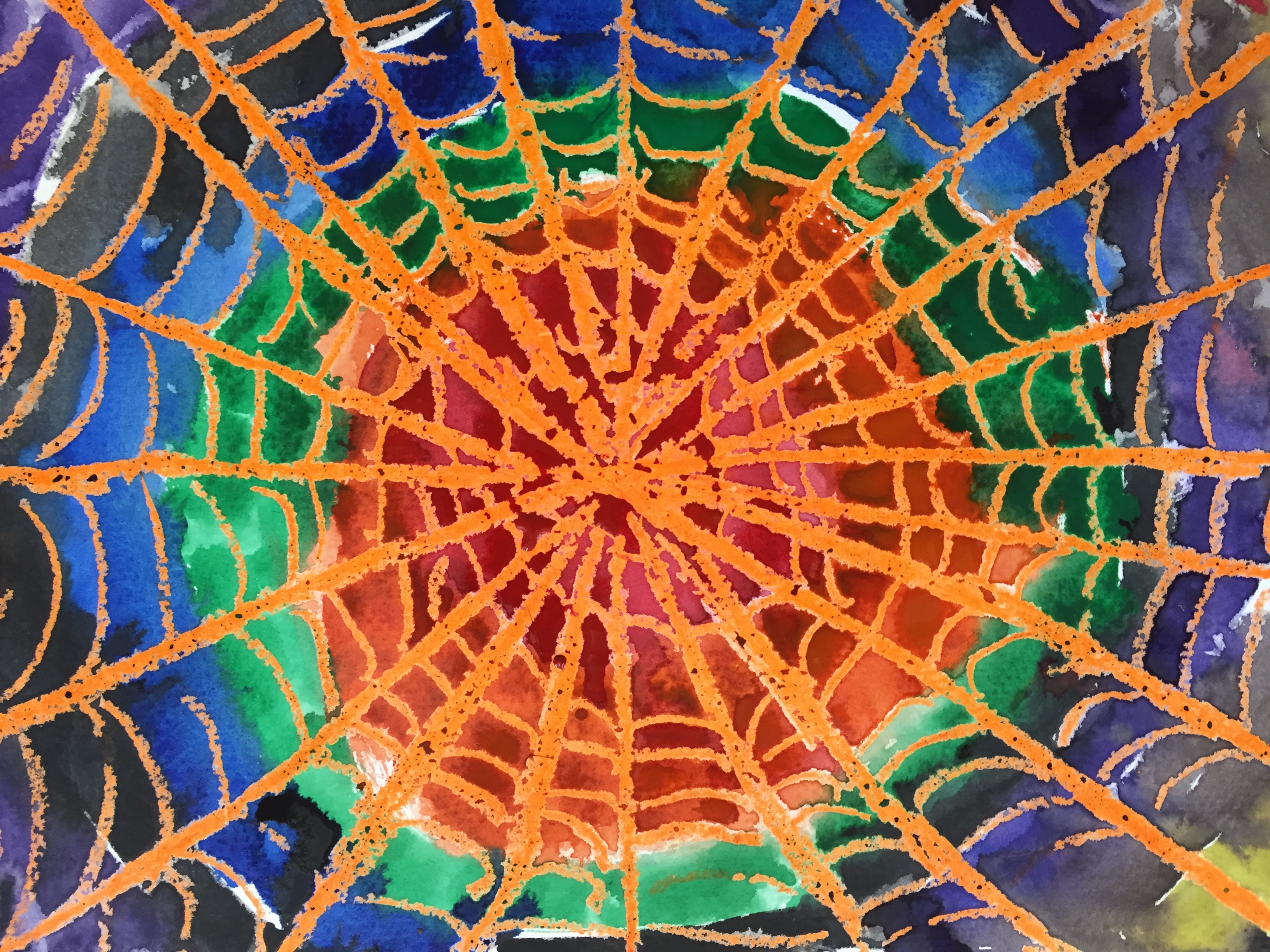 Wax Resist Spiderweb Watercolor