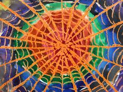 Wax Resist Spiderweb Watercolor
