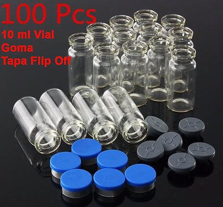 VIALES VIDRIO 10ml 24X50 CON GOMA Y TAPA FLIP OFF (100Pcs)