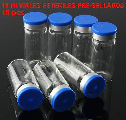 10 PCS VIALES VIDRIO 10ml 24X50 CON GOMA Y TAPA ESTERILES