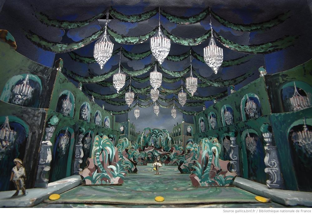 """Les Indes galantes : Maquette de décor en volume : troisième entrée : """"Les fleurs"""" / Henry-Raymond Fost et Maurice Moulène, Paris : Opéra national de Paris-Palais Garnier, 18-06-1952"""