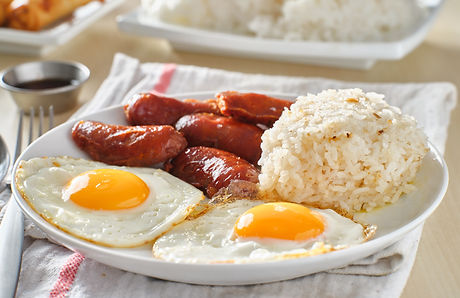 filipino silog breakfast with garlic fri