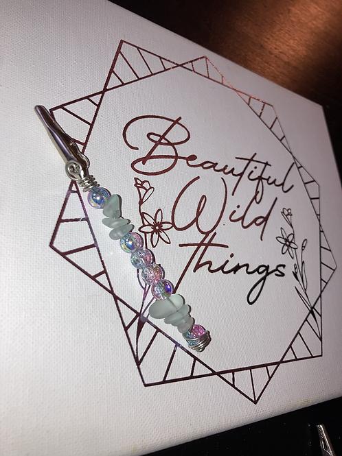 Sea glass & iridescent clip