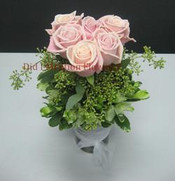 16 - Six Pack of Love Rose Vase Arrangement