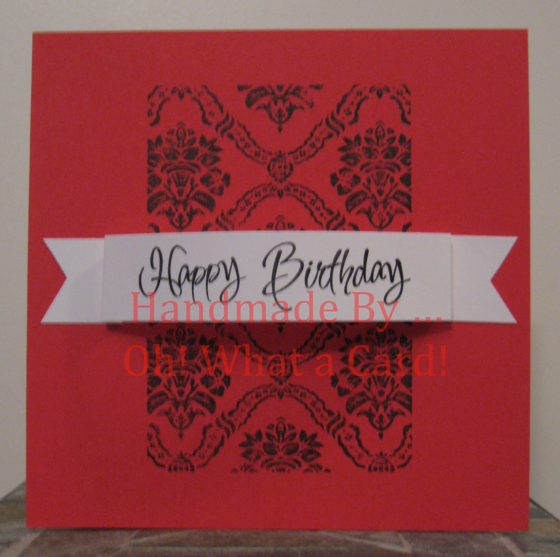 2 - Happy Birthday Damask - Red Card