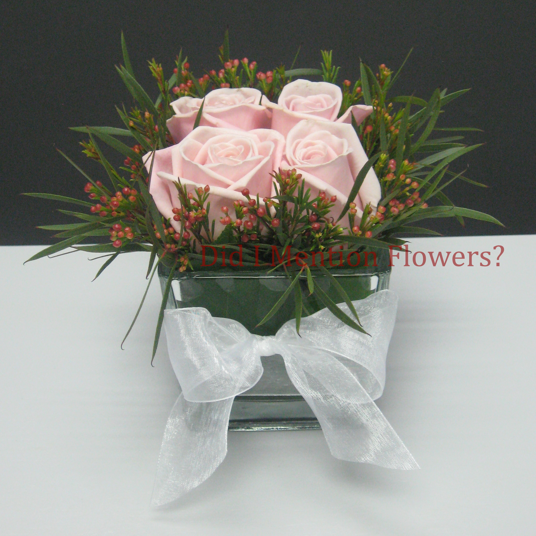 14 - Love Cubed Rose Vase Arrangement