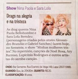 """""""Minhas mulheres Tristes"""" no O Globo"""