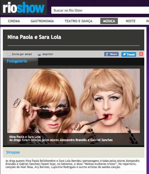 Matéria no site do Rio Show