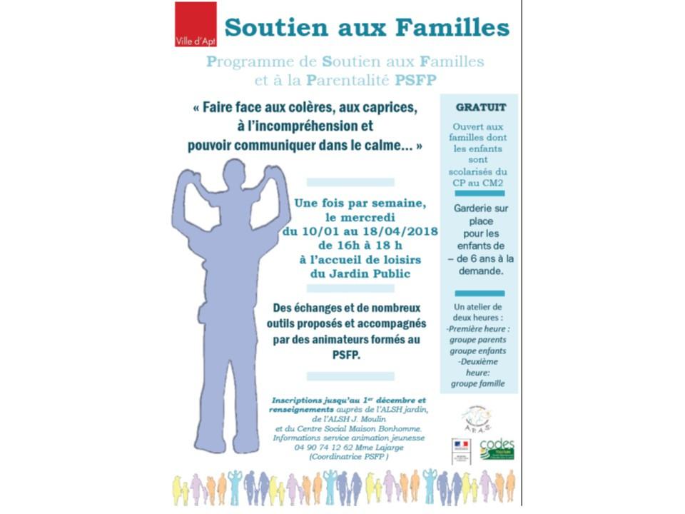 Le programme de soutien aux familles et à la parentalité reprendra en janvier. Inscription à partir du 6 novembre !