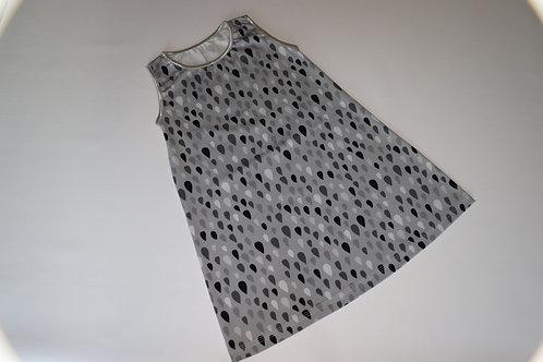 Sommerkleid - Tropfen - Grau- Größe 104