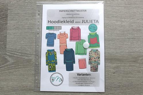 Papierschnittmuster Hoodie/ Hoodiekleid mini JULIETA by drei eM´s
