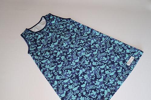 Sommerkleid - Vogel und Blume - Blau - Größe 104