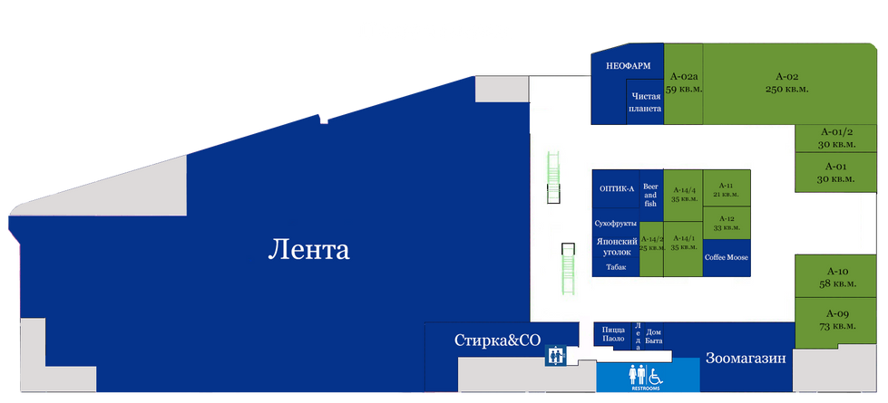 План 1 этажа ТЦ 3хГорка