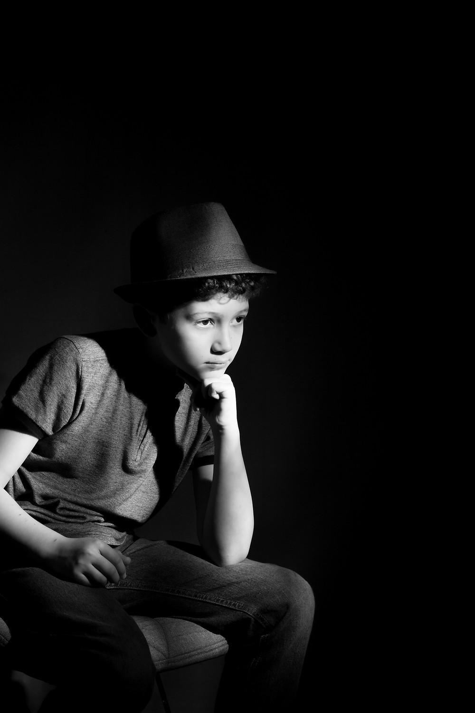 Black and White Portrait Tween Boy
