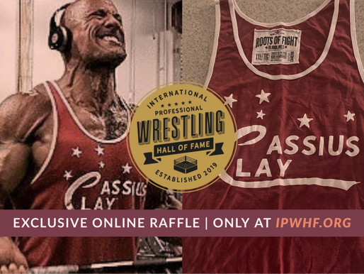 Enter the IPWHF Online Raffle to win this famous shirt worn by The Rock