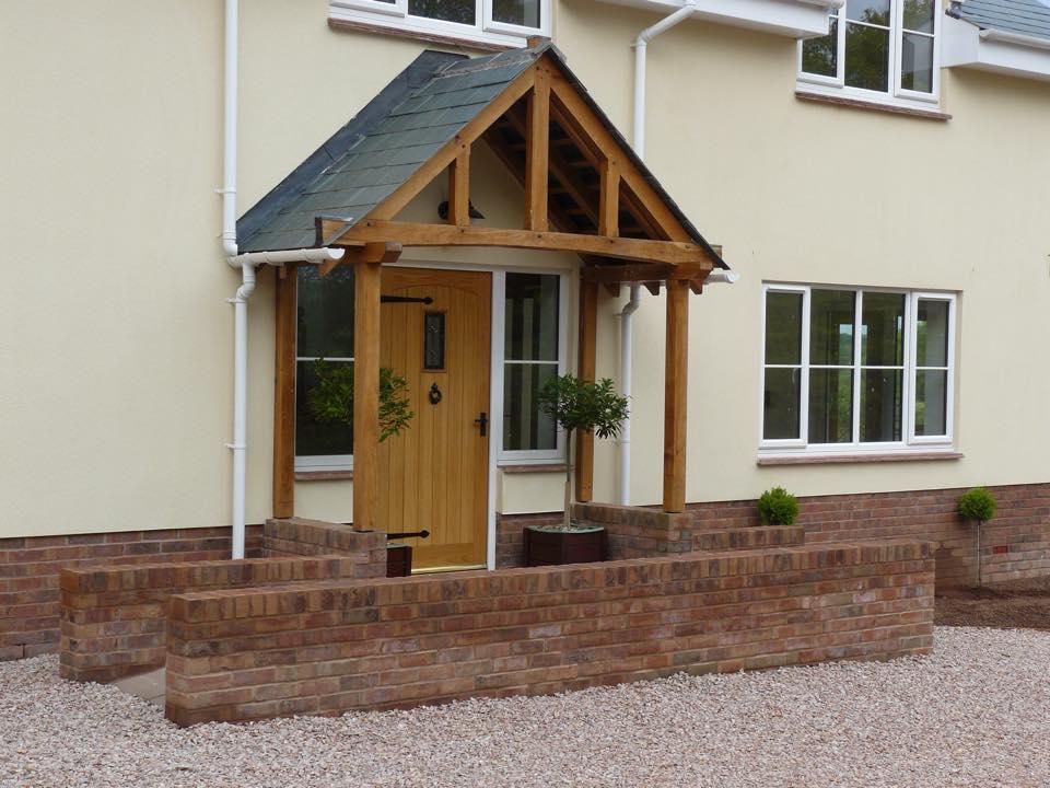 Oak porch and front door