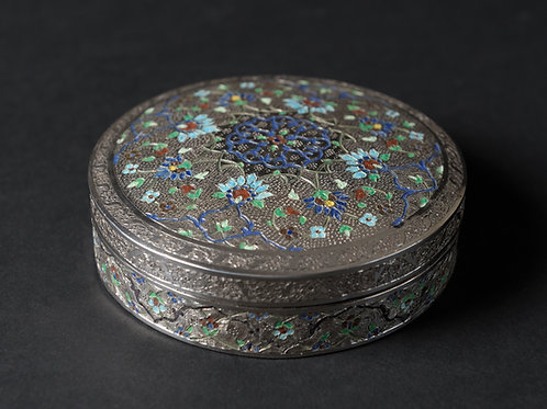 Runde persische Silberdose