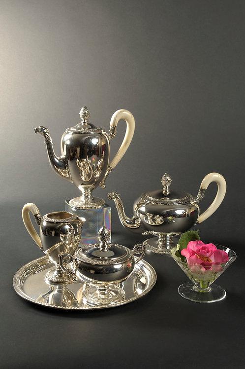 Kaffee-Teeservice, Silber, deutsch um 1900.