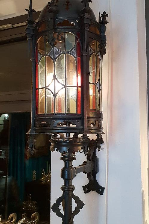 Wandlampe, mit Bleiverglasung,19.Jhr.