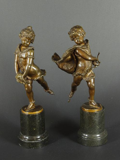 1 Paar Bronze-Figuren, F. Iffland
