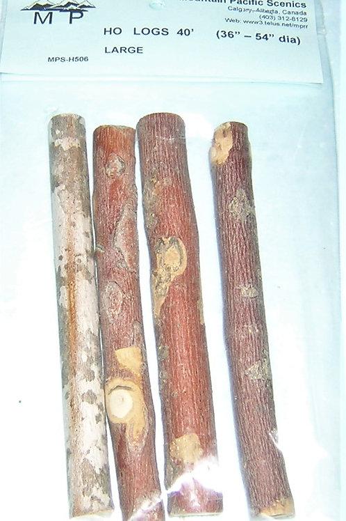 "Logs, Large, HO, 1/8"", (1:100mm) scales, 40 ft long, model railroad, dioramas"