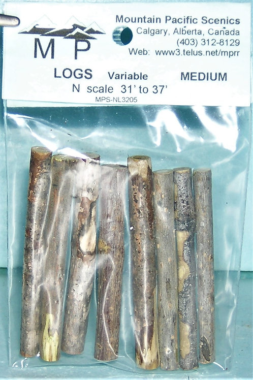 "Logs, Medium, N, 1/16"", (1:200mm) scale 31'-37', model railroad, dioramas"