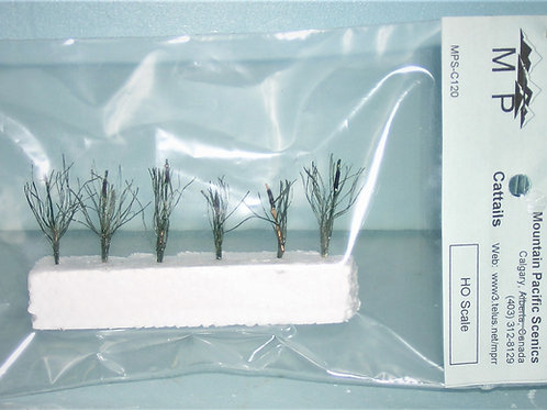 """Cattails, HO, 1/8"""", (1:100mm) scale, model railroad, dioramas, architectural"""