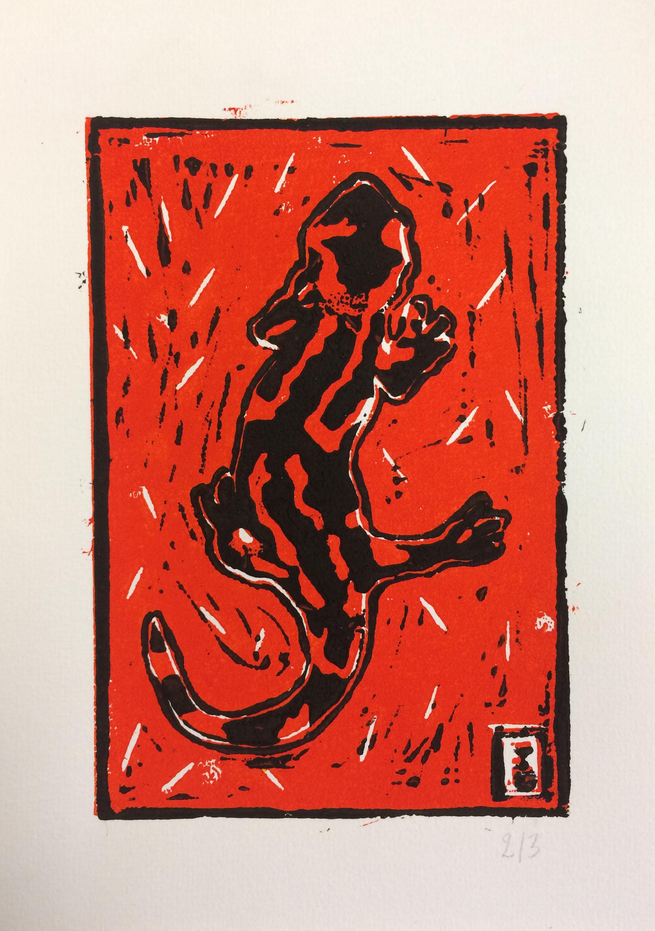 Salamandre - En rouge et noir