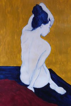 Femme au chignon bleu