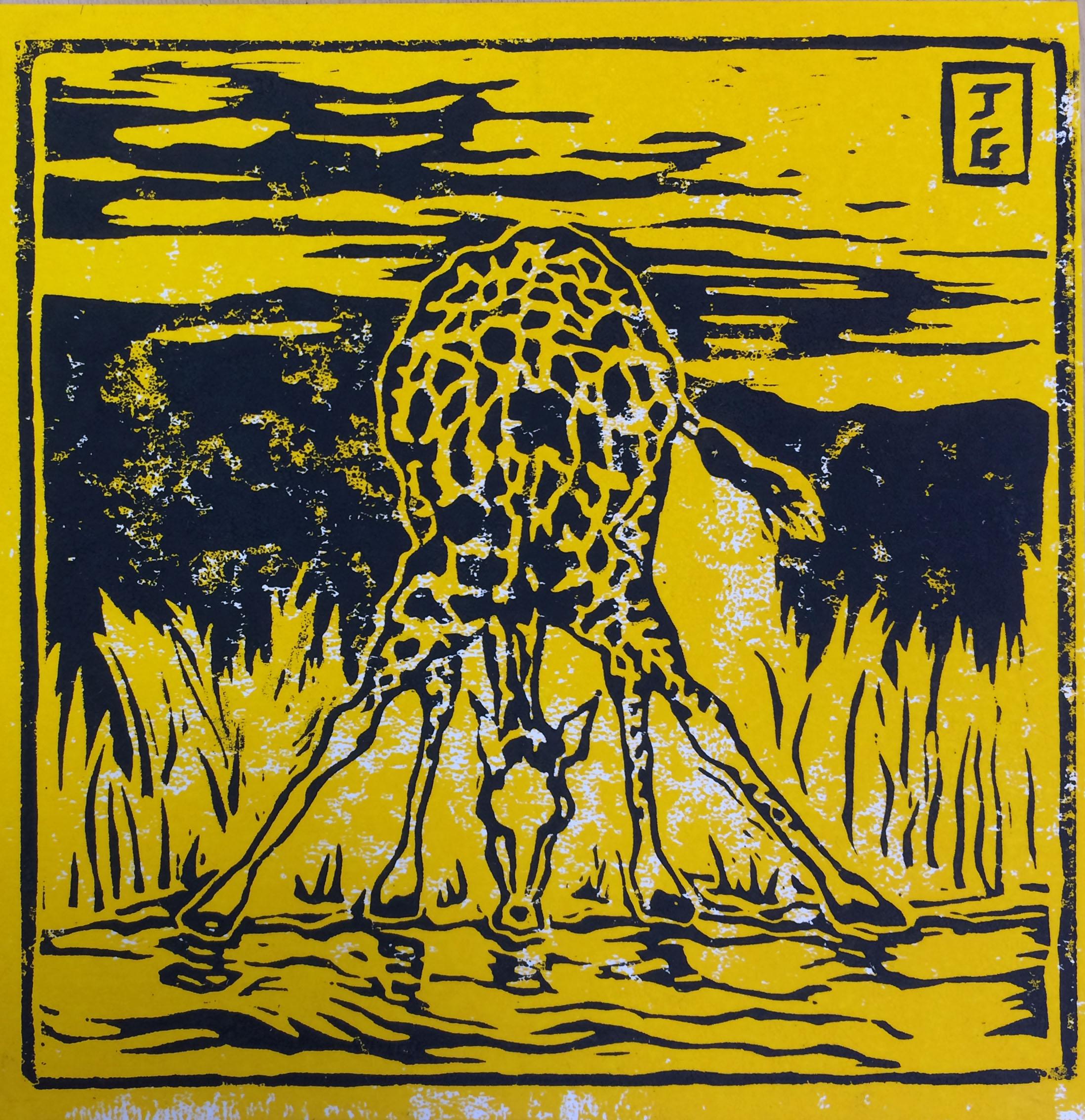 Girafe buvant - Noir et jaune