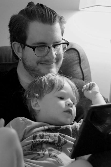 Fox & Dad playing game bw.jpg