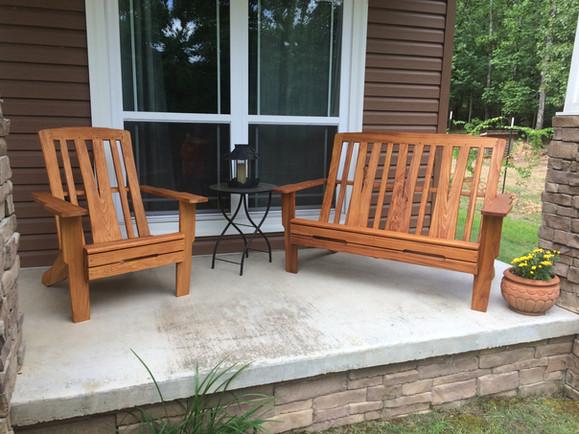 Greene & Green Adirondack Bench and Chair