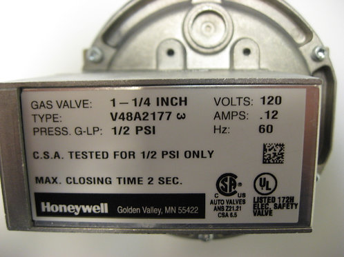 "V48A2177 Honeywell 1 1/4"" 120V Diaphragm Gas Valve On-Off"