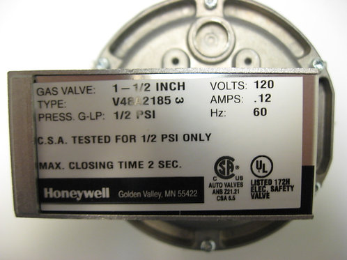 "V48A2185 Honeywell 1-1/2"" 120V Diaphragm Gas Valve On-Off"