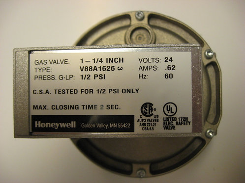 "V88A1626 Honeywell 1-1/4"" 24V Diaphragm Gas Valve On-Off"