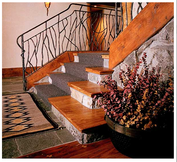 Mountain Hideaway Grade Staircase