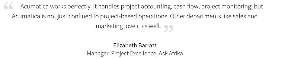 Bmi Acumatica accounting customer quote.