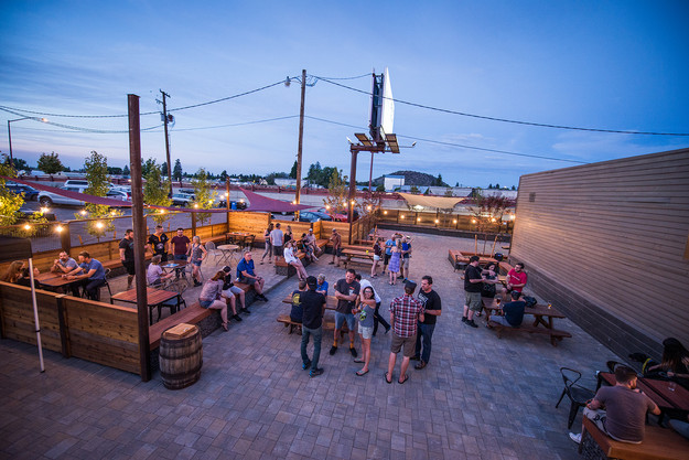 View of busy patio at Silver Moon Brewin