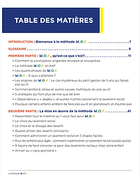 French Table of Contents